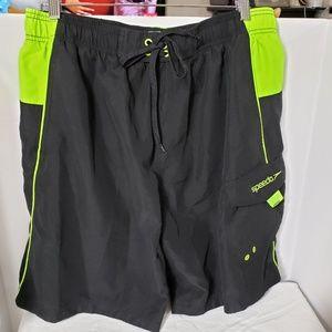 SPEEDO *nwot* XL Black & Lime Men's Swim Trunks